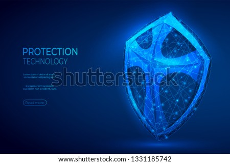 Shield polygonal abstract background. The isolated concept of business security, data protection consists of low poly wireframe, geometry triangle, lines, dots, polygons, shapes.