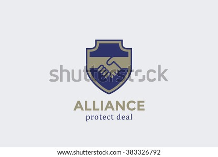 Shield Protect Deal Handshake Logo design vector template. Defend Contract  symbol. Law, Lawyer 4444c92b4e17