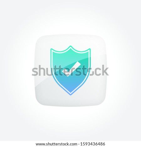 Shield Protection Check Modern Gradient Icons Set