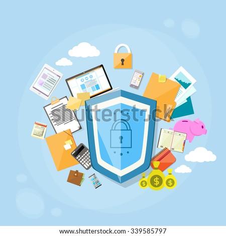 Shield Safe Data Protection Concept Privacy Computer Internet Information Security Flat Banner Logo Vector Illustration
