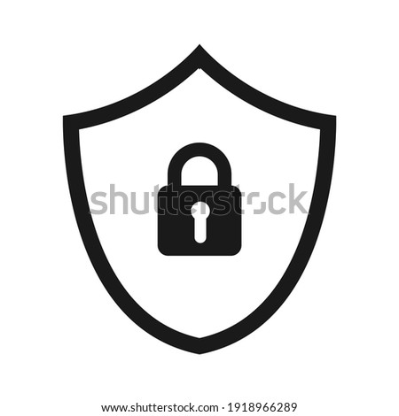 Shield security with lock symbol. Protection, safety, password security  icon. Firewall access privacy sign. Lock security icon for website and apps.