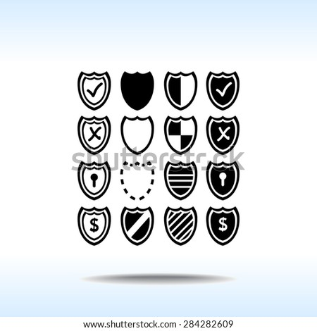 Shield sign icons, vector illustration. Flat design style