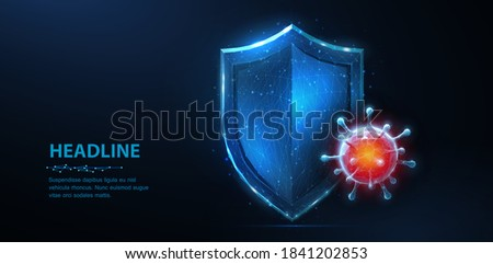 Shield vs virus. Abstract vector 3d shield viral microbe vs blue shield isolated. Computer virus safety, bacterial protection, pandemic fight, medical healthcare, insurance, antivirus firewall concept