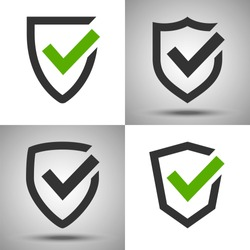 Shield with a checkmark. Protection and security symbol. Set of four vector icons. Safety confirmation.