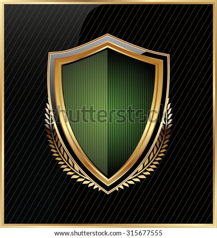 Shield with a golden frame