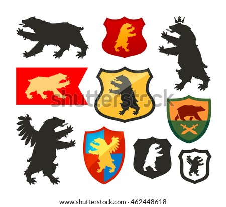 Shield with bear vector logo. Coat of arms, heraldry set icons