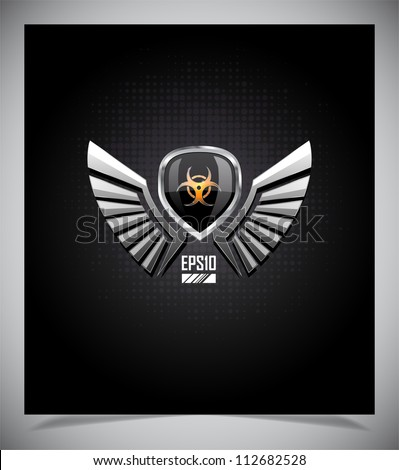 Shield with biohazard sign and wings on a dark background.