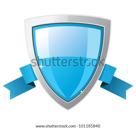 Shield with blue ribbon.