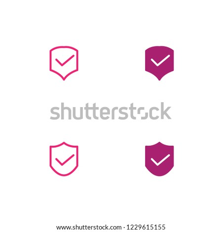 Shield with Check Icon Set. Flat Style. Line Style. Solid Style