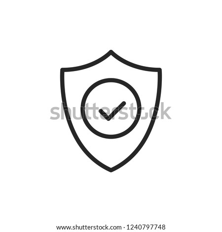 Shield with check mark line icon. Security, reliability, protection, safety concepts. Simple thin line design. Vector icon Foto d'archivio ©