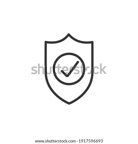 Shield with check mark line icon. Security, reliability, protection, safety concepts. Simple thin line design. Vector icon Photo stock ©