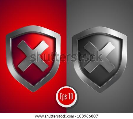 Shield with cross mark. Vector illustration