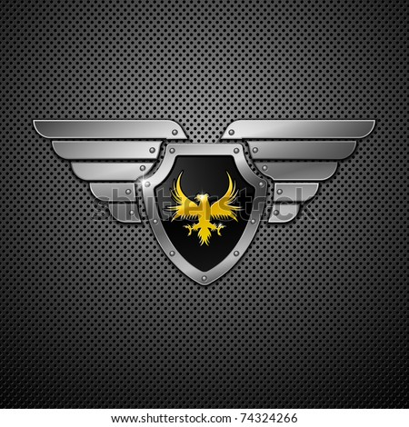 Shield with eagle and wings. Vector illustration.