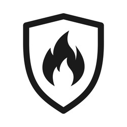 Shield with fire sign. fire shield Vector icon. Vector shield icon. Protection icon. Shield vector icon.