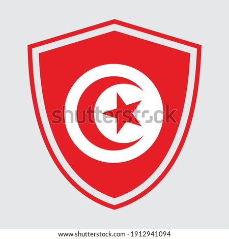 Shield with flag of Tunisia.