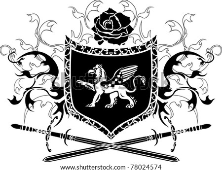 Shield with griffin and crossing swords