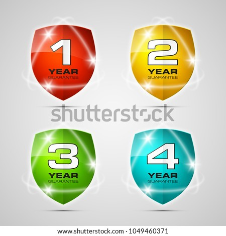 Stock Photo Shield with guarantee one, two, three, four year icon. Warranty 1 2 3 4 year Label obligations. Safeguard shield sign. Protect promise reliability badge. Security guaranteed vector illustration