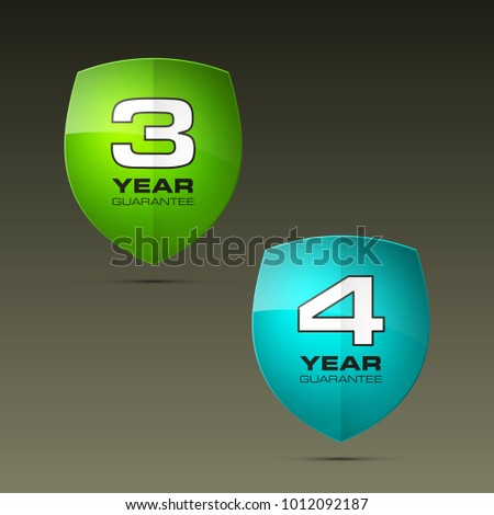 Stock Photo Shield with guarantee three & four year icon. Warranty 3 & 4 year Label obligations. Safeguard shield sign. Protect promise reliability badge. Security guaranteed vector illustration