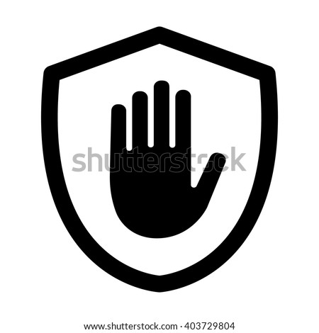 Shield with hand block / adblock line art icon for apps and websites