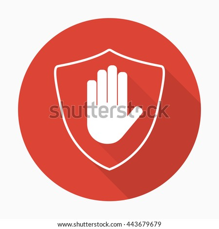 shield with hand block icon in