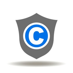 Shield with Letter С Icon Vector. Copyright Safety Rights Copmany Logo. Trademark or Patent Protection Symbol.