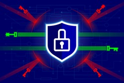 Shield with lock on digital, cyber background. Network protection, GDPR, reflection and protection against hacker attacks. Allowed electronic keys, prohibition, ban of unknown cracking keys. Vector