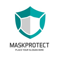 Shield with mask vector logo template. This logo suitable for preventive from virus.