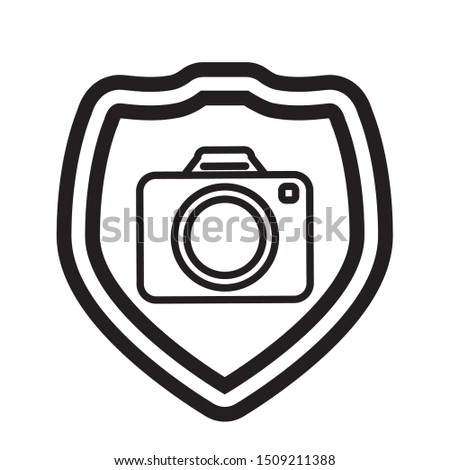 shield with photographic camera vector illustration
