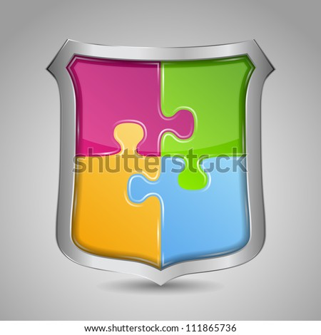 Shield with puzzle pieces, vector eps10 illustration