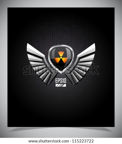 Shield with radiation sign and wings. Vector illustration.