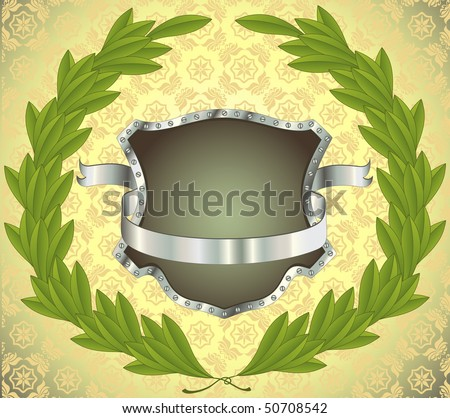 Shield with silver ribbon and laurel wreath, seamless pattern on background. All on separate layers.