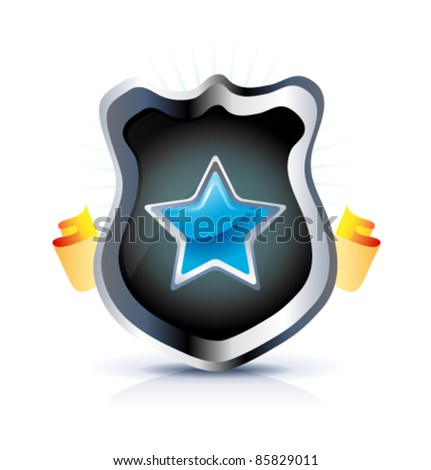 Shield with star symbol and chrome borders