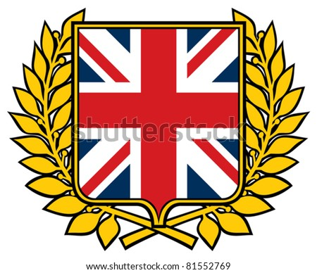 shield with united kingdom flag (emblem, sign, design)