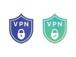 Shield with VPN. Virtual private network icon