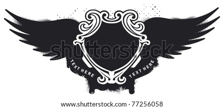 shield with waves wings and grunge banner