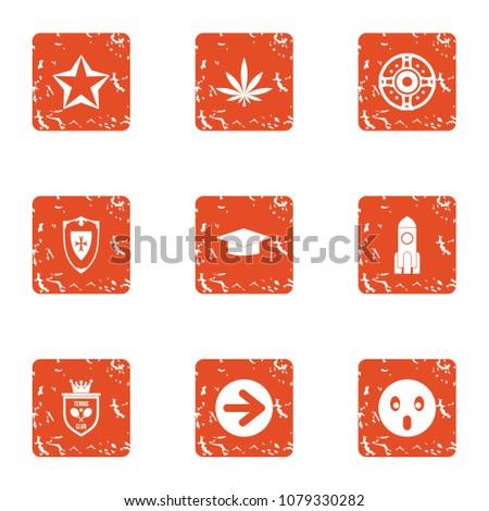 shielding icons set grunge set