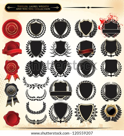 Shields, laurel wreath and wax seal collection
