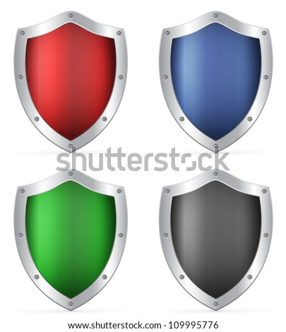 Shields set on a white background. Vector illustration.