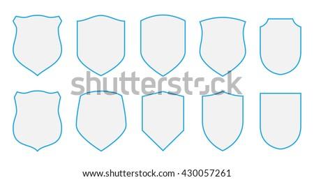 Shields vector coat arms set signs/symbols/stickers design elements