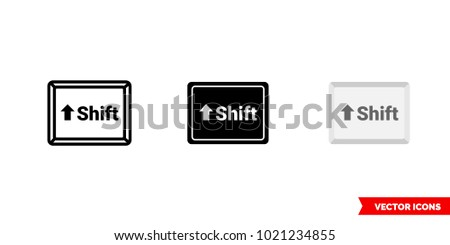 Shift button icon of 3 types: color, black and white, outline. Isolated vector sign symbol.