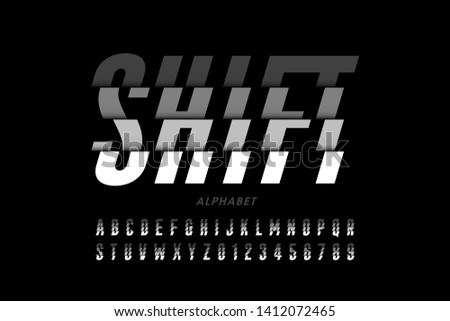 Shifted style modern font design, alphabet letters and numbers vector illustration