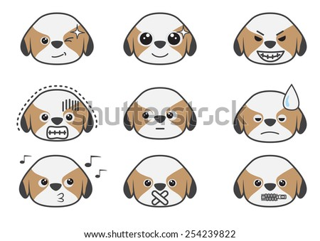 Shih Tzu puppy in difference emotion.