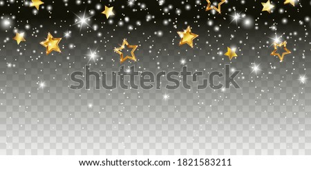 Shimmer light sparkles effect seamless border. Vector white glowing xmas snow and glitter with gold stars isolated on transparent background for Christmas, New Year luxury card design
