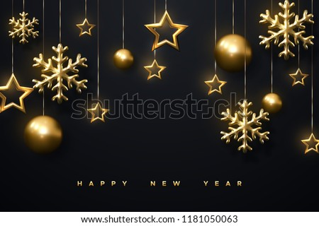 Shimmering golden snowflakes, christmas balls and stars on black background. Vector 3d illustration of glowing hanging Cristmas ornament. New Year cover or banner template. Winter holiday decoration.