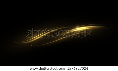 Shimmering waves with light effect isolated on black background. Glittering star dust trail. Abstract motion. Magic lines. Neon effect vector background