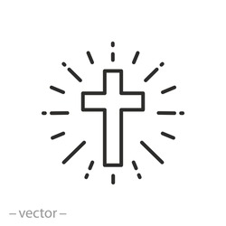 shine christian cross icon, concept catholic church, holy light ray, faith religion, easter, thin line symbol on white background - editable stroke vector