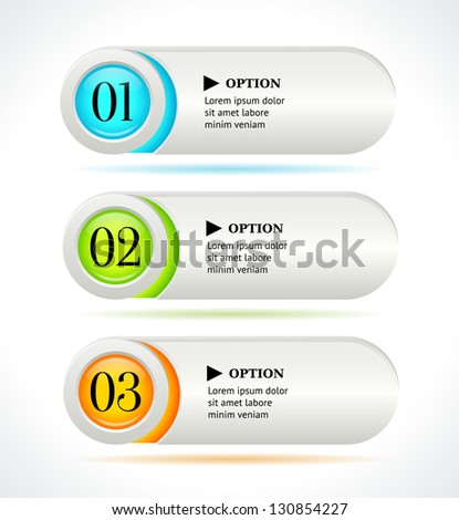 Shine horizontal colorful options banners/buttons on white background. Vector template