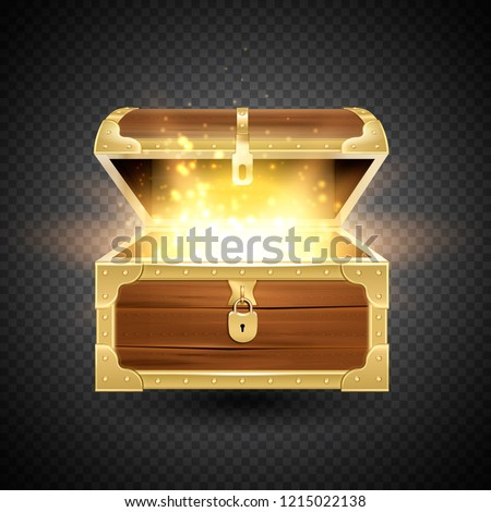 Shine in old wooden chest realistic composition on transparent background with vintage coffer and sparkling particles vector illustration