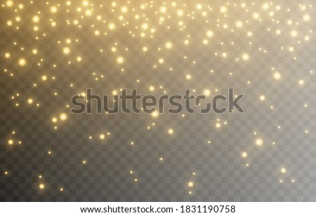 Shine. Light effect, golden light. Light from the sky. Lights, golden shine, sparkles. PNG picture. Christmas background, Christmas.