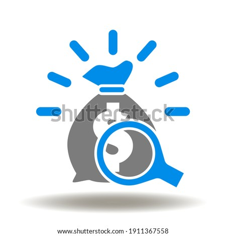 Shine money bag with magnifying glass vector icon. P L Profit and Loss Symbol. Economy, Wealth, Banking, Investment Illustration. Stock fotó ©